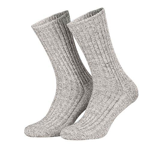 Piarini Norwegersocken robust Wolle Herren - Arbeitssocken mit Frotteesohle - warme Wintersocken aus Schafwolle in 3er Pack grau 39-42