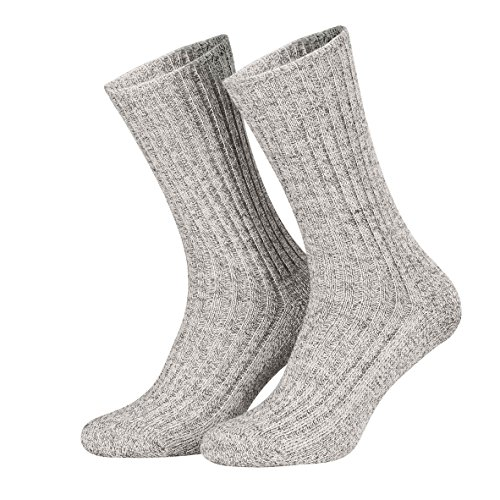 Piarini Norwegersocken robust Wolle Herren - Arbeitssocken mit Frotteesohle - warme Wintersocken aus Schafwolle in 3er Pack grau 43-46