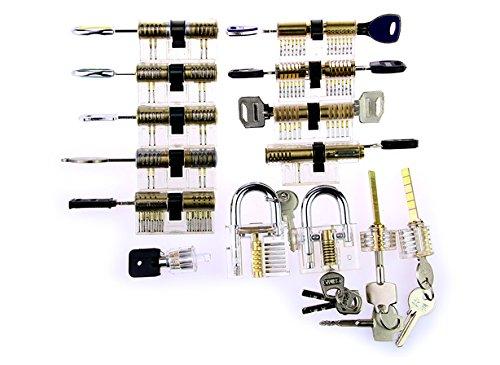 TPM Go 14pcs transparente Ensemble de crochetage Cylindre pour Pratiquer professionnelle, serrurier kit d'entraînement