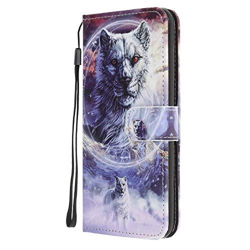 Nadoli Coloré Peint Loup Désign Housse Coque en Cuir avec Magnetique Premium Fonction de Support Flip Case Portefeuille Etui pour Samsung Galaxy A51