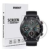 MWOOT Cristal Templado Compatible con Reloj Honor Magic Watch 2 46MM y Huawei Watch GT2 46MM(4 Unidades), Protector Pantalla Vidrio Proteccion 9H Pelicula Anti-arañazos para Smartwatch
