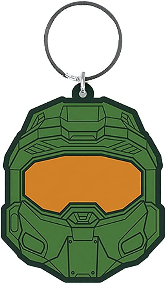 Halo Master Chief Helmet Rubber Keyring Keychain Fob