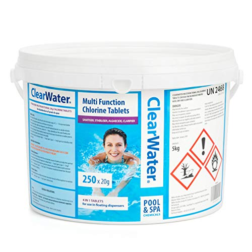 Clearwater CH0041 5 kg Multifunction Chlorine Tablets, 4-in-1 Dispenser Tablets (Sanitiser, Stabiliser, Algaecide and Clarifier) for Pools and Hot Tubs, 250 x 20 g