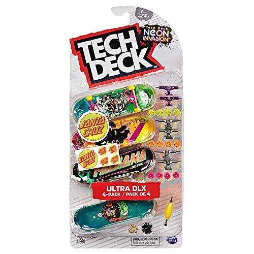 Tech-Deck Neon Invasion Santa Cruz 2021 Skateboards Ultra DLX 4-Pack Fingerboards