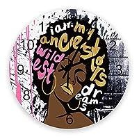 掛け時計 アフリカの女の子 マジック 性感 唇 落書き 壁掛け時計 掛時計 静音 clock サイレント 壁時計 部屋 リビング 玄関 インテリア コンパクトサイズ 電池式 木掛け鐘 大数字 円形 贈り物 直径 30cm