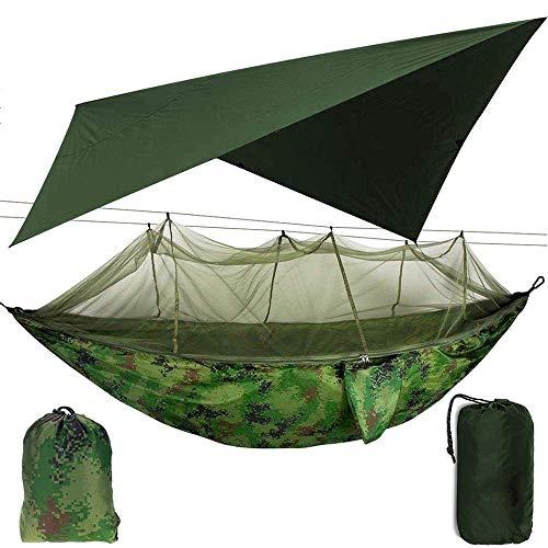XHLLX Hamaca Hamaca de Camping al Aire Libre con Refugio de mosquiteras y Sol de Sol, hamacas de Swing de Doble paracaídas portátil TARP TARP
