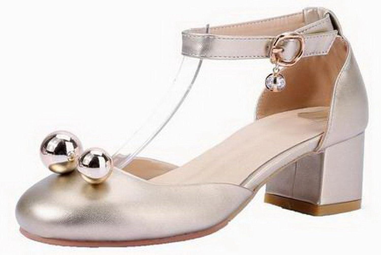 AmoonyFashion Women's Buckle Pu Closed-Toe Kitten-Heels Solid Sandals