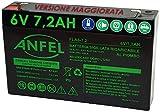 Batteria Ermetica Ricaricabile al Piombo 6V Volt 7Ah 7,2Ah con connettore faston 4,8mm 151x33x98mm