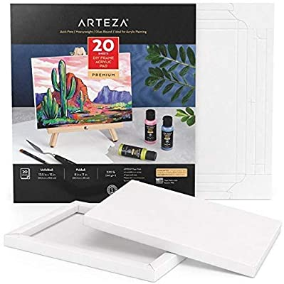 Arteza Acrylic Paper Foldable Canvas Pad, 8x11 Inches, 20 Sheets, DIY Frame, Heavyweight Acrylic Paint Paper, 220 lb, 360 GSM, Acid-Free, Art Supplies for Painting & Mixed Media Art