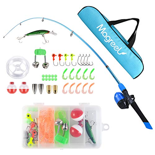 Magreel Kids Fishing Pole, Portable Telescopic Fishing Rod and Reel Combos Full Fish Tackle Kit with Fishing Line, Fishing Gears, Travel Bag for Boys, Girls, Beginner or Youth