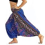 Hippie Pantalon Thai Danse Légère des Femmes Bloomers Motif Bohême en Vrac Faible Crotch Pantalon Yoga Fitness (Color : Navy Blue, Size : One Size)