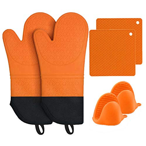 MTZRFLL Silicone Oven Mitts Set, Extra Long Non-Slip Heat Resistant Oven Gloves Come with 2 Cooking Pinch Mitts & 2 Pot Holders, Prefect for Grilling, Cooking, Baking (Orange)