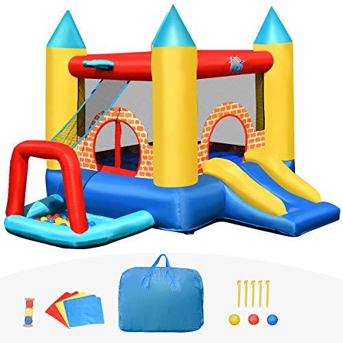 Goplus 4 in 1Castello Gonfiabile per Bambini 3-10 Anni con 30 Palline,Giocattolo Gonfiabile Trampolino per Parco e Giardino per 3 Persone (300x280x210 cm)