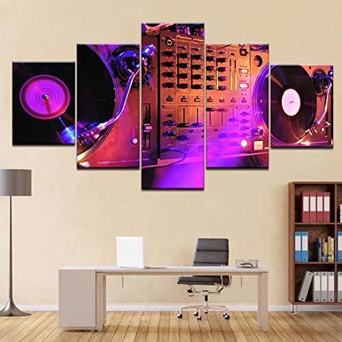 5 panel HD printing DJ muurschildering bar nachtclub muur poster schilderij op canvas kunst schilderij decoreren de woonkamer van de familie