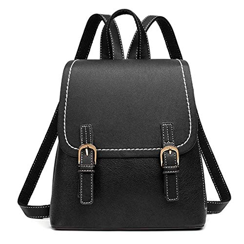 Monitika Womens Backpack Anti-theft Rucksack PU Leather Fashion Casual Small Daypack Black