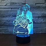 Solo 1 pieza Navidad Cálidos pequeños regalos Lámpara 3d Interruptor táctil remoto Encantador cambio de 7 colores Luz de noche LED 3D Habitación de niños Lámparas de luces LED para niños