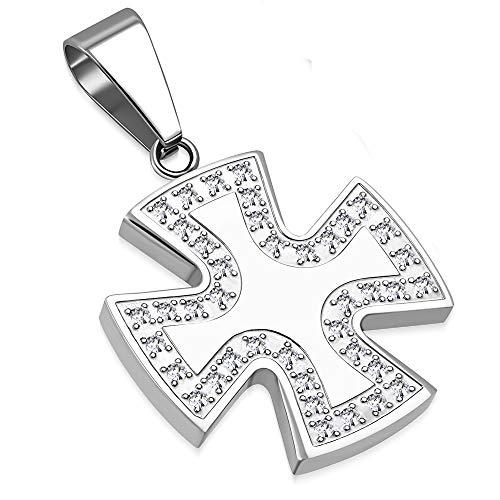 BlackAmazement 316L Edelstahl Anhänger Halskette Celtic Iron Cross Eisernes Kreuz Tatzenkreuz Templerkreuz Zirkonia CZ besetzt Silber schwarz Biker Damen (Farbe Silber mit Kette)