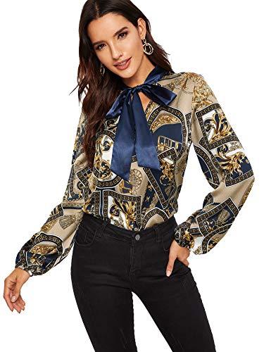 Romwe - Blusa para mujer, elegante, estilo vintage, con cuello de pajarita, manga de farol, con botones, con volantes, Multicolor, XL