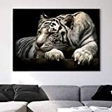 BailongXiao Cartel de Mural de Tigre Blanco sobre Lienzo Mural de Animales Salvajes Sala de Estar decoración del hogar,Pintura sin Marco,50x75cm