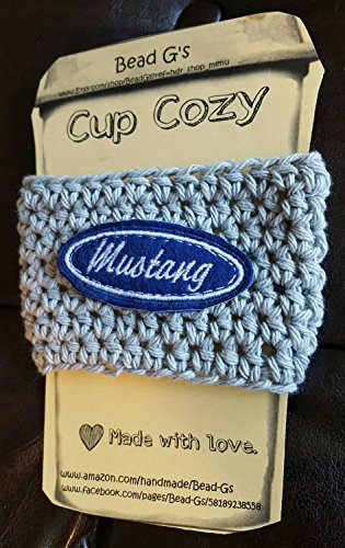 Crochet Mustang Inspired Coffee Cup Cozy. Made By Bead G's On AMAZON.