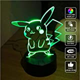 3d Led Optical Illusion Lamp Pokemon Pikachu Night Light Optical Illusion Visual Lamp 7 Color Changing Table Lamp For Gifts Or Home Decoration 3d Led Optical Illusion Lamp Pokemon Pikachu Night Light