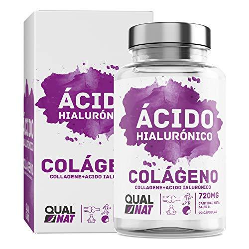 Collagène marin avec capsules d'acide hyaluronique | Vitamine C | Pour une peau radieuse et un bon entretien des articulations - 90 capsules - Qualnat
