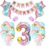 Amycute 3er Cumpleaños Globos, Decoración de cumpleaños 3 Rosa, Número 3 Globos Digitales Gigante del papel de Aluminio, Feliz cumpleaños Pancarta Globos de Confeti de Latex para Fiestas Niñas