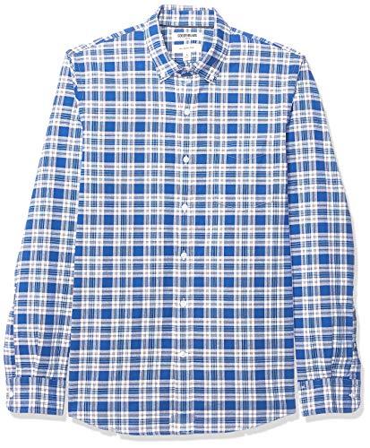 Amazon Brand - Goodthreads Men's Slim-Fit Long-Sleeve Plaid Oxford Shirt, Bright Medium Blue Plaid, Medium