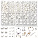 470PCS Pearl Beads for Crafts, Kanzueri 4mm 6mm 8mm 10mm 12mm Round Pearl Beads Loose Bracelet Pearls White Pearl Beads with Hole for DIY Craft Necklaces Choker Jewelry Repairing Making