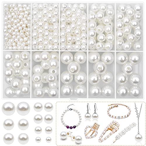 Cuentas de perlas para manualidades, Kanzueri de 4 mm, 6 mm, 8 mm, 10 mm, 12 mm, cuentas sueltas de perlas blancas con agujero para manualidades, collares de gargantilla y reparación de joyas