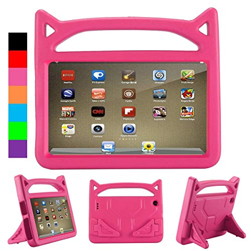 2019 F i r e 7 inch case Kids Light Weight Shock Proof Handle and foldable stand Case for A m a z o n F i r e 7 Tablet (7' Display -Compatible 2017 and 2015 F i r e 7) (F i r e 7 Case, Rose)