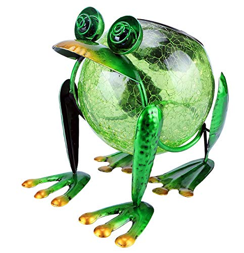 SkyeyArc Frog Solar Lantern with Crack Glass, Waterproof Decorative Table lamp for Outdoor, Solar Led Night Light for Garden, Patio, Party, Yard Decorations, Green