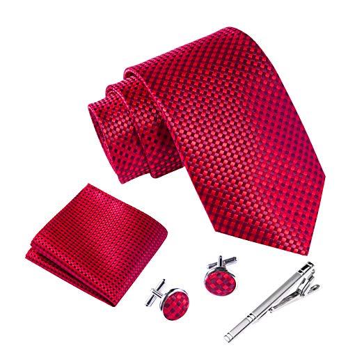 Massi Morino ® Herren Krawatte Set mit umfangreicher Geschenkbox rot rote karriert karrierte Karos rotfarben hellrot rotekrawatte karriertekrawatte red hellrot feuerrot kirschrot karomuster redtie