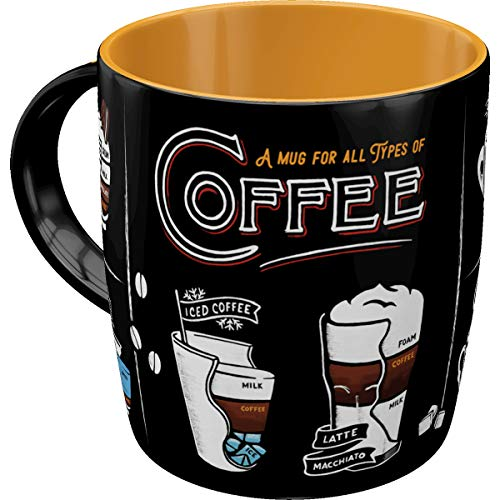 Nostalgic-Art Retro Kaffee-Becher - Coffee & Chocolate - All Types of Coffee, Große Retro Tasse, Vintage Geschenk-Idee für Kaffee-Liebhaber, 330 ml