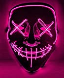 Halloween Lighting Mask Scary Cosplay LED Costume Mask for Halloween Festival Parties-Purple