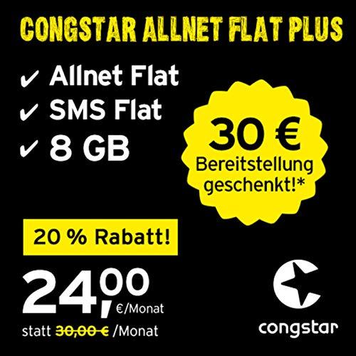congstar Allnet Flat Plus, SIM, Micro-SIM und Nano-SIM, monatlich kündbar (24,00 Euro/Monat, 8 GB Datenflat mit max. 25 Mbit/s, Allnet Flat und SMS Flat) in bester D-Netz-Qualität