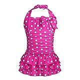 iEFiEL Badeanzug für Mädchen, Vintage Klassiker Bademode mit Polka Dots Rockabilly Bikini Anzüge Beachwear Badekleid Gr. 98-164 Rose 134-140