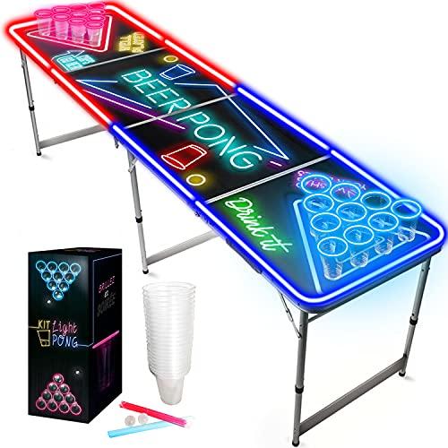 Offizieller Light Kit B-Pong Tisch Set   Inkl. 1 B-Pong Tisch + 2 Becher + 24 Leuchtstäbe + 2 B-Pong Bälle   Premium Qualität   Partyspiele