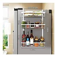 WXS 冷蔵庫サイドシェルフ 多機能 フリーパンチ 家庭用 キッチン収納ラックラック調味料ラッ 3階ク仕上げラックサイドフック (Color : White)