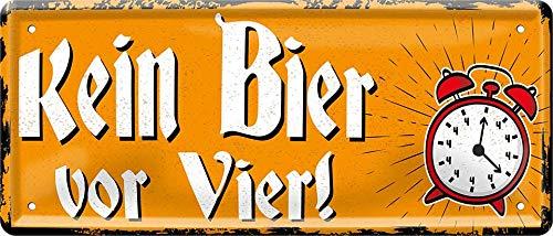 Kein Bier vor Vier - Trinkspruch 28 x 12 cm Funny Spruch Deko Blechschild 795