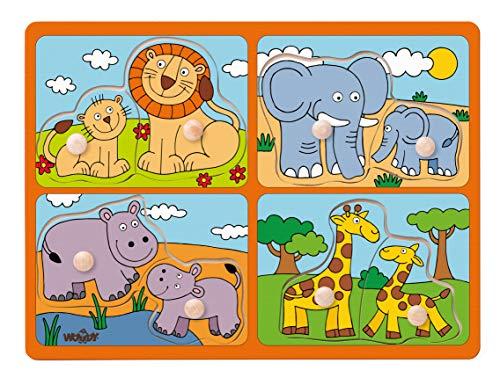 Woodyland 102191914Puzzle Animali esotici, Multicolore