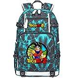 ZZGOO-LL Dragon Ball Son Goku/Vegeta IV/Torankusu Anime Cosplay Bookbag College Bag Mochila Mochila Escolar con Puerto de Carga USB-G