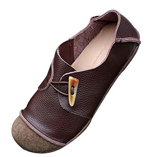 Vogstyle Damen Frühjahr / Sommer Handgefertigte Leder Ebene-Schuhe Braun 40