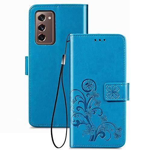 TOPOFU Cover per Samsung Galaxy Z Fold 2 5G Custodia, Motivo a Fiori Ultra Sottile in Pelle per PU+TPU Custodia A Portafoglio con Slot Schede per Samsung Galaxy Z Fold 2 5G Blu