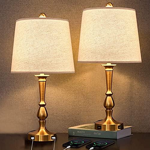 U'Artlines Lot de 2 Lampe de Chevet Tactile avec 2 Ports USB Lampe de Table avec Abat-jour en Tissu Beige Lampe de Chevet Chambre pour Chambre Salon Dortoir Studio Café(Or)