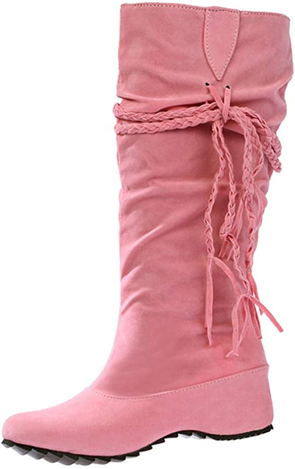 Women Boots Autumn Winter Fringe Half Knee High Boots Ladies Tassel Fashion shoes
