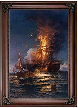 Historic Art Gallery Burning of The Frigate USS Philadelphia in The Harbor of Tripoli 1897 by Edward Moran Framed Canvas Print Size 12x18 Brown