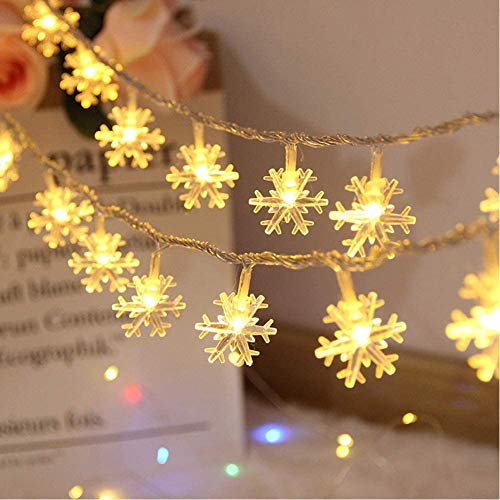 O-heart Christmas String Lights, 16 ft 40 LED Fairy Lights Battery Operated Waterproof for Xmas Garden Patio Bedroom Party Decor Indoor Outdoor Celebration Lighting, Warm White (Snowflake)
