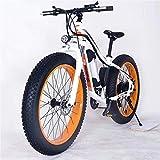 Bicicletas Eléctricas, 26' Montaña de bicicleta eléctrica de 36V 350W 10.4Ah extraíble de iones de litio Fat Tire Bike Nieve de Deportes Ciclismo Viajes Tráfico ,Bicicleta ( Color : White Orange )
