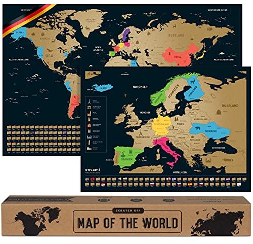 Weltkarte zum Rubbeln - Mit Europakarte - Scratch off Map - Gold - 68 CM x 43 CM - Deutsch - Landkarte zum Rubbeln - Weltkarte zum Freirubbeln - Rubbelweltkarte - Weltkarte zum Freikratzen